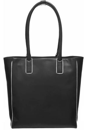 Brix + Bailey Black Soft Leather Piped Leather Day Tote