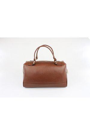 Luxe Designers Women Purses - Flo & Sue Cassia Brown Leather Bauletto Bag