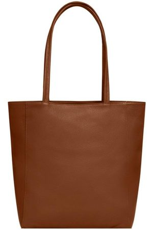 Sostter Women Purses - Camel Zip Top Leather Tote Shopper Bag