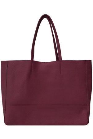 Sostter Women Purses - Plum Horizontal Soft Pebbled Leather Tote Bag
