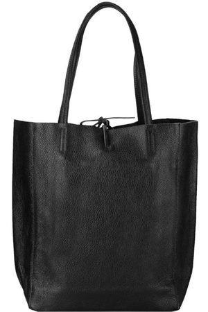 Sostter Women Purses - Black Soft Pebbled Leather Tie Top Tote Bag
