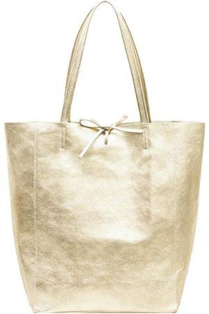 Sostter Soft Gold Metallic Leather Tote Shopper Bag