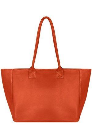 Sostter Women Purses - Burnt Orange Horizontal Zipped Top Leather Tote