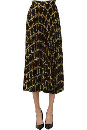 Twin-Set Printed crepè pleated skirt
