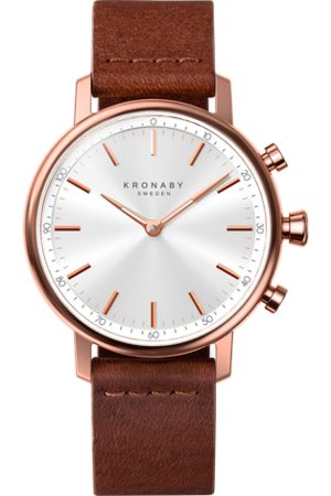 Kronaby Carat 38mm Hybrid Smartwatch - Silver, Brown Leather