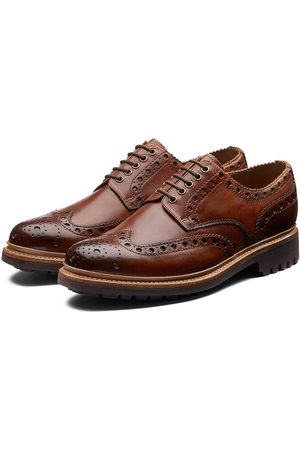 GRENSON Archie Hand Painted Gibson Brogue Tan