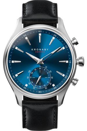 Kronaby Men Smart Watches - Sekel 41mm Hybrid Smartwatch - Blue, Black Leather