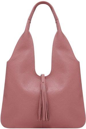 Sostter Dusty Pink Tassel Leather Hobo Bag