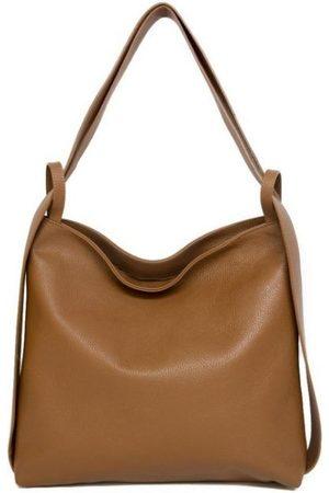 Sostter Camel Pebbled Leather Tote Backpack