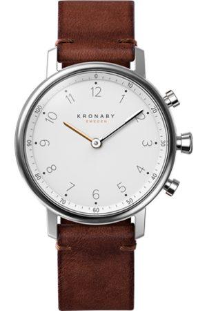 Kronaby Nord 38mm Hybrid Smartwatch - White, Dark Brown Leather