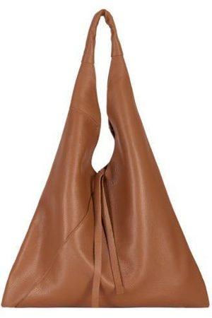 Sostter Women Tote Bags - Camel Pebbled Boho Leather Bag