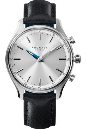 Kronaby Men Smart Watches - Sekel 38mm Hybrid Smartwatch - Silver, Black Leather