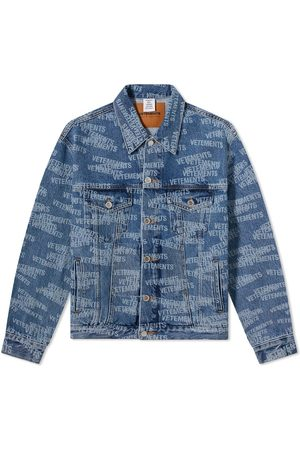 Vetements Men Denim Jackets - All Over Logo Denim Jacket