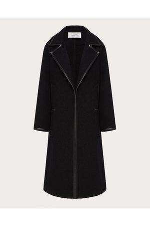 VALENTINO Women Coats - Coat With Leather Details Women 88% Virgin Wool 38