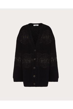 VALENTINO Women Cardigans - Wool And Lace Cardigan Women 100% Virgin Wool L