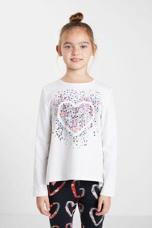 Desigual Girls Long Sleeve - T-shirt heart sequins
