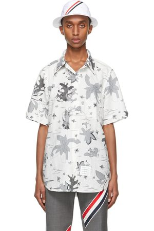 Thom Browne Men Short sleeves - White & Grey Graphic Print Straight-Fit Short Sleeve Shirt