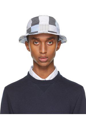Thom Browne Men Hats - Grey & Blue Patchwork Bucket Hat