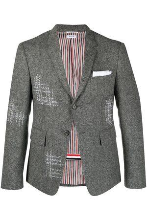 Thom Browne Men Blazers - Contrast-stitch single-breasted blazer jacket - Grey