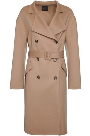 THEORY Double Breasted Belted Wool Blend Coat