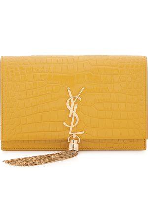 Saint Laurent Kate mustard crocodile-effect leather wallet-on-chain