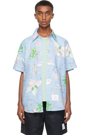 Thom Browne Blue Graphic Print Straight-Fit Short Sleeve Shirt
