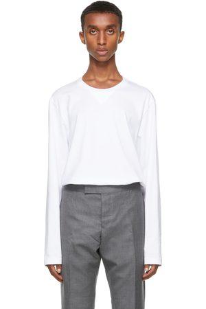 Thom Browne Men Long Sleeve - White Gusset RWB Tipping Stripe Long Sleeve T-Shirt
