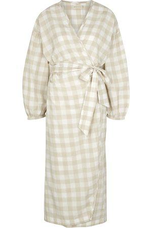 General Sleep Agnes gingham cotton wrap dress