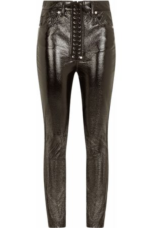 Dolce & Gabbana Women Skinny Pants - Coated lace-up skinny trousers