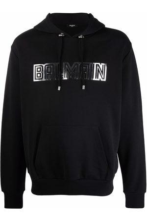 Balmain Men Hoodies - Logo-print drawstring hoodie