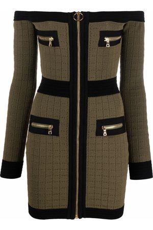 Balmain Women Strapless Dresses - Off-shoulder knitted dress
