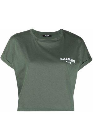 Balmain Women T-shirts - Logo-print cropped T-shirt