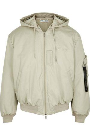 OFF-WHITE Men Bomber Jackets - Stone padded twill bomber jacket