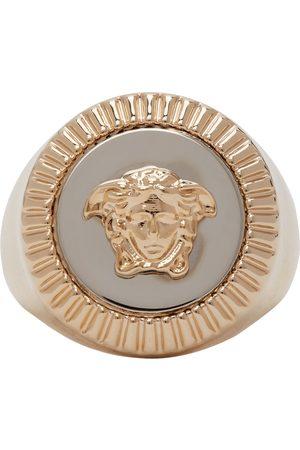 VERSACE Women Rings - Gold & Silver Guilloché Medusa Signet Ring