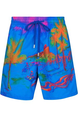 Vilebrequin Men Swim Shorts - Moorea palm print swim shorts