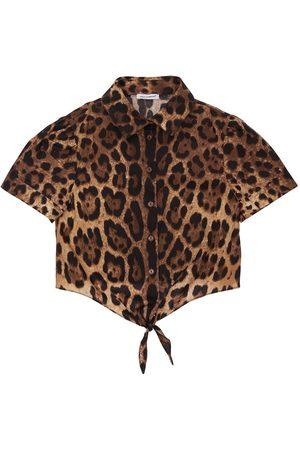 Dolce & Gabbana Girls Shirts - Leopard Print Cotton Poplin Shirt