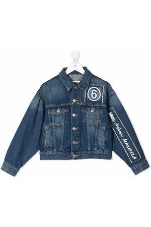 MM6 KIDS Girls Denim Jackets - Logo-embroidered denim jacket