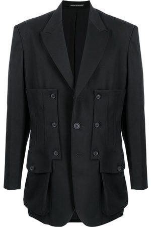YOHJI YAMAMOTO Men Blazers - Buttoned panelled wool blazer