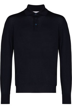 Brunello Cucinelli Men Polo Shirts - Knitted long-sleeve polo shirt