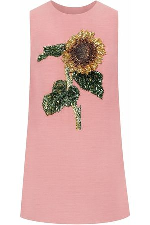 Oscar de la Renta Women Party Dresses - Sunflower-embroidered shift mini dress
