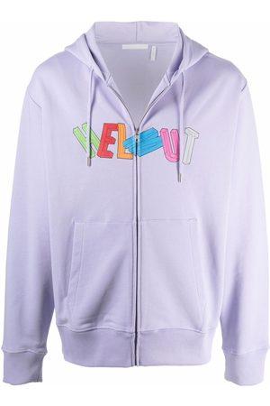 Helmut Lang Men Hoodies - Logo-print zip-up hoodie