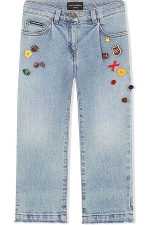 Dolce & Gabbana Girls Straight - Appliqué-detail straight jeans