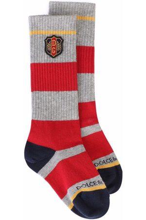 Dolce & Gabbana Socks - Logo-patch knit socks - Grey