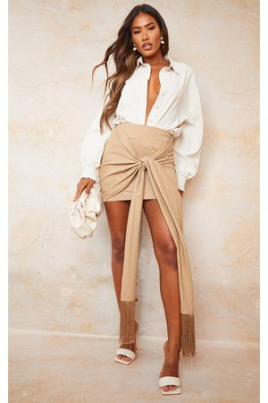 PRETTYLITTLETHING Sand Linen Feel Ruched Bum Extreme Tie Detail Mini Skirt