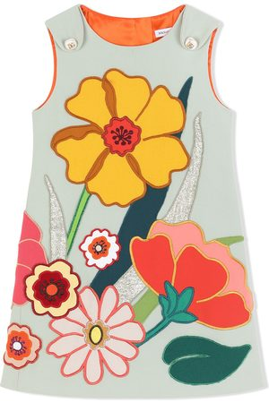 Dolce & Gabbana Girls Printed Dresses - Sleeveless floral-patch dress