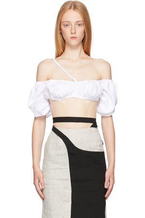 Vejas White Puckered Poplin Bralette T-Shirt