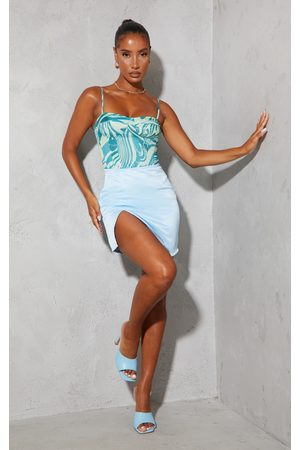 PRETTYLITTLETHING Women Party Dresses - Pale Tailored Satin Split Front Mini Skirt