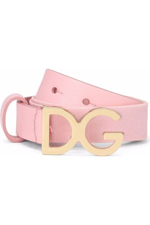 Dolce & Gabbana Girls Belts - Logo-buckle leather-trim belt