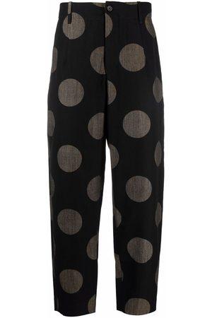 UMA WANG Men Wide Leg Pants - Polka dot trousers
