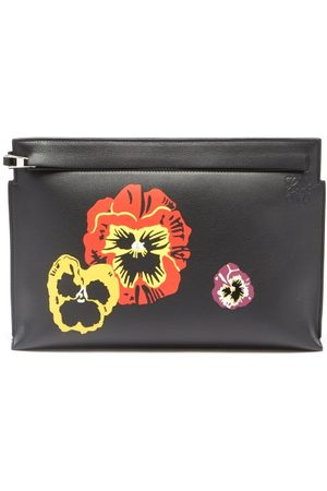 Loewe Women Purses - Pansy-print Grained-leather Pouch - Womens - Multi